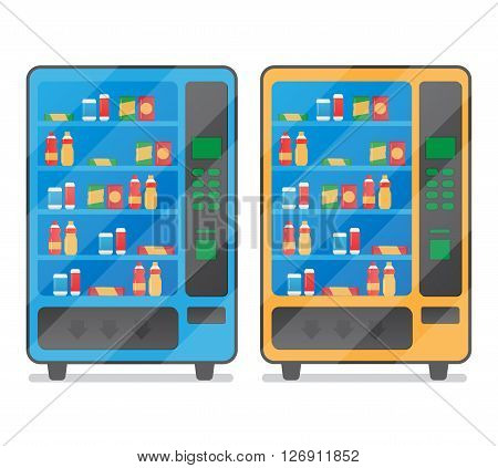 Vending coffee snack and water is a machine vector illustration