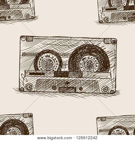 Audio cassette sketch style seamless pattern vector illustration. Old hand drawn engraving imitation. Audio cassette.