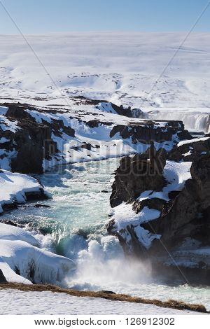 Iceland waterfall natural landscape, Godafoss North of Iceland ** Note: Visible grain at 100%, best at smaller sizes