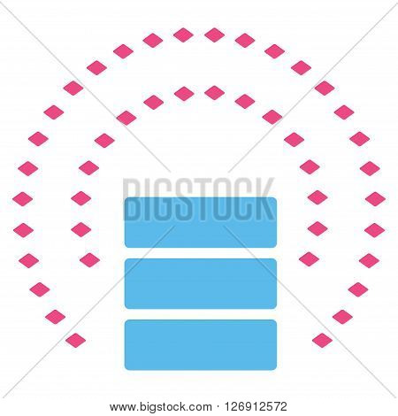 Database Sphere Shield vector toolbar icon. Style is bicolor flat icon symbol, pink and blue colors, white background, rhombus dots.