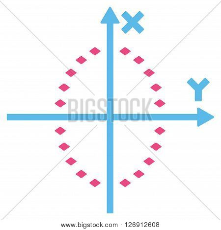 Dotted Ellipse Plot vector toolbar icon. Style is bicolor flat icon symbol, pink and blue colors, white background, rhombus dots.