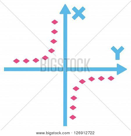 Dotted Hyperbola Plot vector toolbar icon. Style is bicolor flat icon symbol, pink and blue colors, white background, rhombus dots.