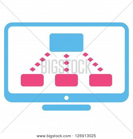 Hierarchy Monitoring vector toolbar icon. Style is bicolor flat icon symbol, pink and blue colors, white background, rhombus dots.