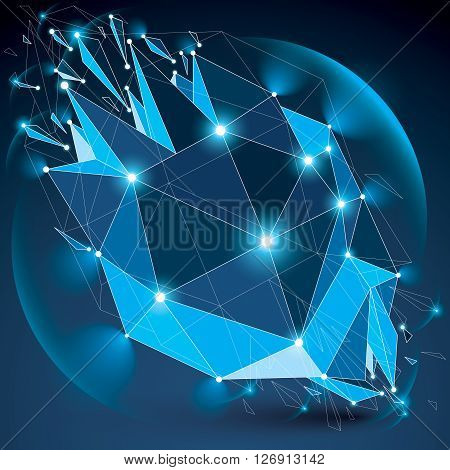 Abstract 3d faceted radiance blue figure with connected black lines and dots. Vector