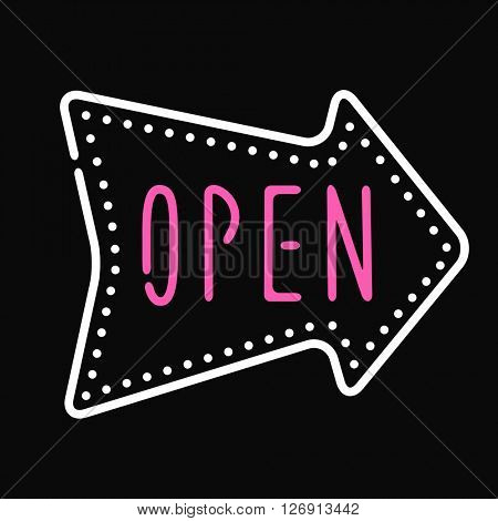 Classic open neon sign dark background business store shop vector illustration.