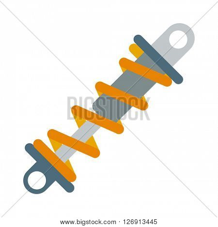 Flat vector illustration of shock absorber icon metal car damper coil equipment.