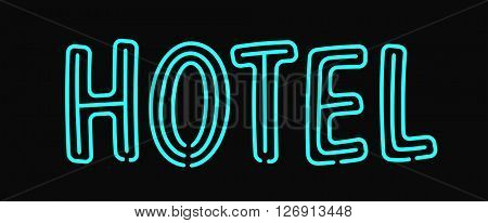 Hotel neon sign illuminated advertising with night light blue effects holiday text signage vector illustration.