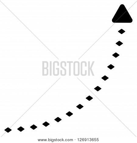 Dotted Growth Line vector toolbar icon. Style is flat icon symbol, black color, white background, rhombus dots.