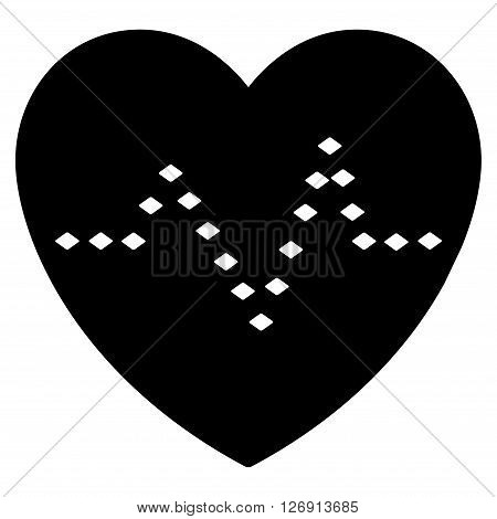 Dotted Heart Pulse vector toolbar icon. Style is flat icon symbol, black color, white background, rhombus dots.