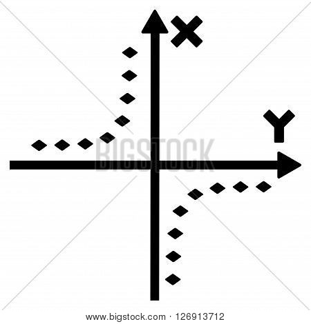 Dotted Hyperbola Plot vector toolbar icon. Style is flat icon symbol, black color, white background, rhombus dots.