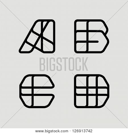 Capital letters A, B, C, D. From  black stripe .  Template for  Logo, monogram, emblem. Trendy design.