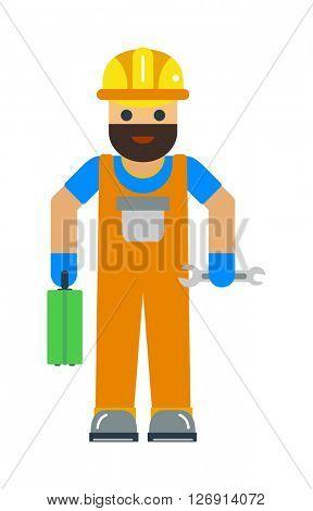 Cartoon worker character illustration.
