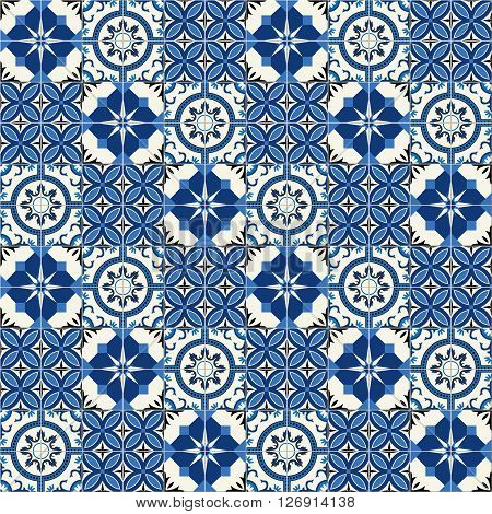 Stylish seamless pattern patchwork mix of  Moroccan tiles in trendy shades of blue.