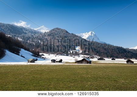 View over Alps from Loisach Valley, Garmisch-Partenkirchen, Germany