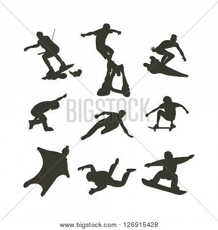Vector drawing jumping and climbing men extreme athletes silhouettes.
