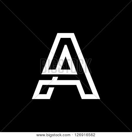 Capital letter A. From the white interwoven strips on a black background. Template for emblem, logos and monograms.