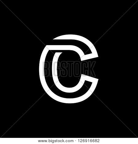 Capital letter C. From the white interwoven strips on a black background. Template for emblem, logos and monograms.