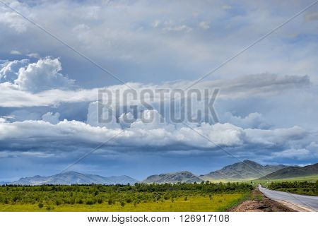beautiful summer mountain and hazy sky landscape