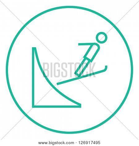 Ski jumping line icon.