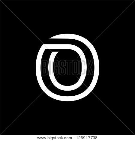 Capital letter O. From the white interwoven strips on a black background. Template for emblem, logos and monograms.
