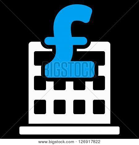 Pound Financial Company Building vector icon. Pound Financial Company Building icon symbol. Pound Financial Company Building icon image. Pound Financial Company Building icon picture.