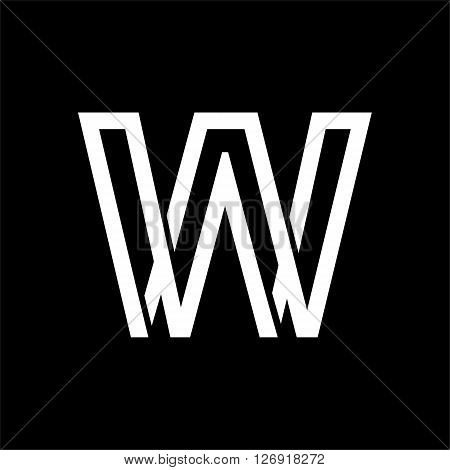 Capital letter W. From the white interwoven strips on a black background. Template for emblem, logos and monograms.