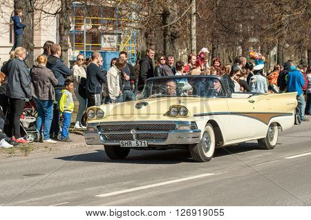 NORRKOPING, SWEDEN - MAY 1: 1958 Ford Skyliner Convertible at classic car parade celebrates spring on May 1, 2013 in Norrkoping, Sweden. This parade is an annual tradition in Norrkoping on May Day.