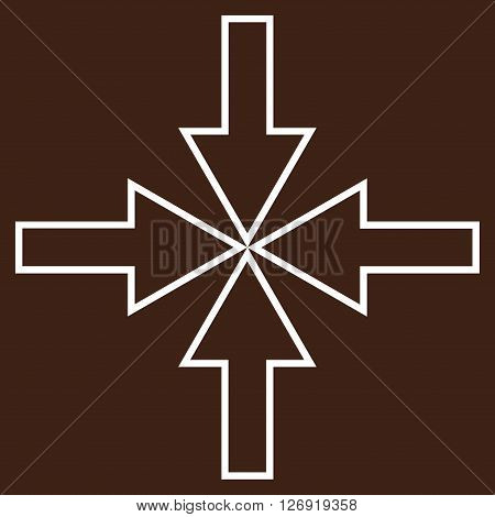 Compact Arrows vector icon. Style is thin line icon symbol, white color, brown background.