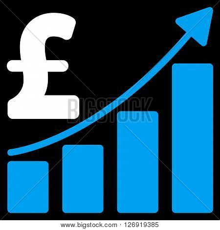 Pound Sales Growth Chart vector icon. Pound Sales Growth Chart icon symbol. Pound Sales Growth Chart icon image. Pound Sales Growth Chart icon picture. Pound Sales Growth Chart pictogram.