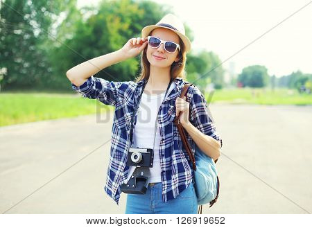 Portrait Pretty Smiling Woman Wearing Straw Hat Sunglasses And Vintage Camera