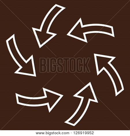 Cyclone Arrows vector icon. Style is contour icon symbol, white color, brown background.