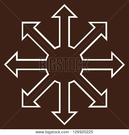 Enlarge Arrows vector icon. Style is outline icon symbol, white color, brown background.