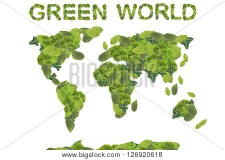 Green world concept. Earth Day. Concept ecology. World map with continents made of natural leaves isolated on white background.