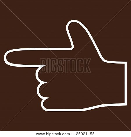 Hand Pointer Left vector icon. Style is stroke icon symbol, white color, brown background.