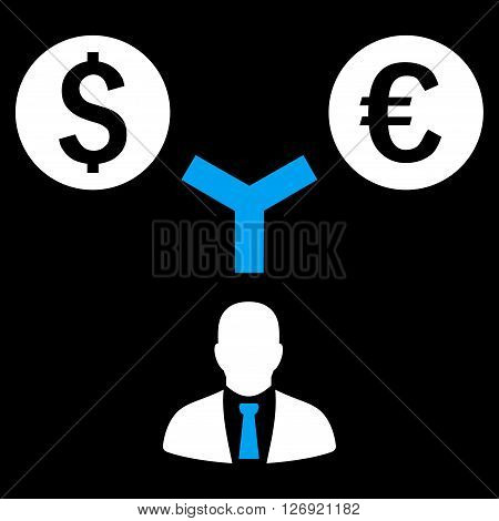 Currency Management vector icon. Style is bicolor flat symbol, blue and white colors, black background.