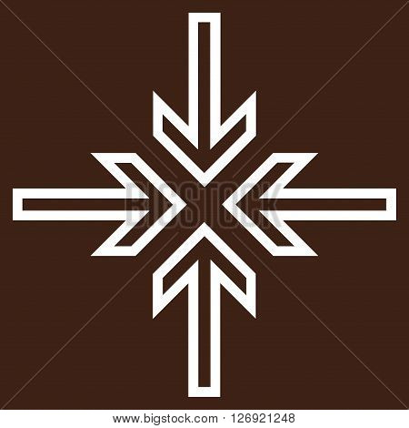 Implode Arrows vector icon. Style is contour icon symbol, white color, brown background.