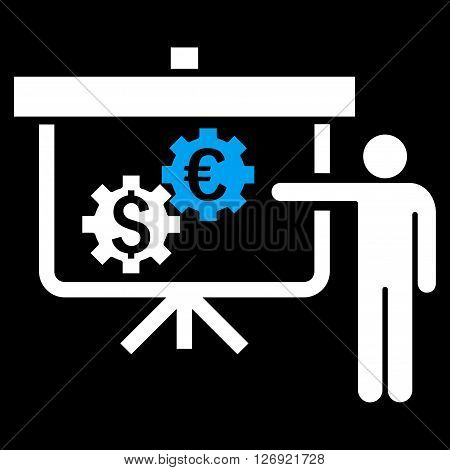 International Banking Project vector icon. Style is bicolor flat symbol, blue and white colors, black background.
