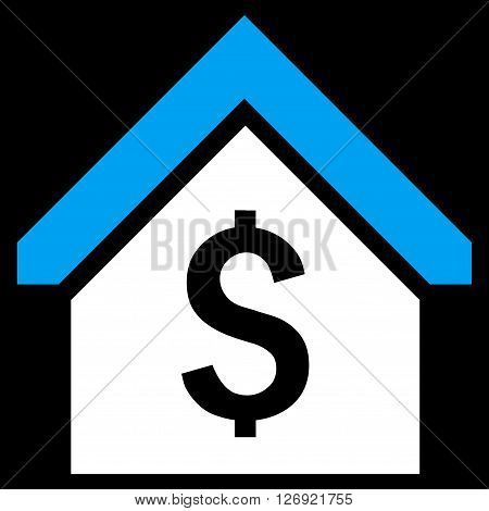 Loan Mortgage vector icon. Style is bicolor flat symbol, blue and white colors, black background.