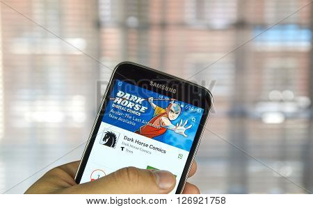 MONTREAL CANADA - APRIL 5 2016 : Dark Horse comics app on mobile phone. Dark Horse Comics is an American comic book and manga publisher.