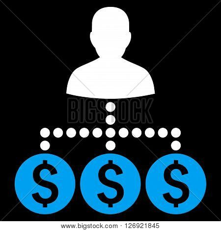 Money Collector vector icon. Style is bicolor flat symbol, blue and white colors, black background.