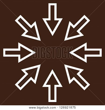 Pressure Arrows vector icon. Style is thin line icon symbol, white color, brown background.
