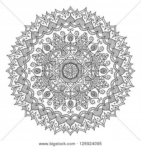 Vintage Mandala. Vector Round Ornament Tribal Pattern. Great choice for adult coloring page, kaleidoscope, medallion and other kind of design