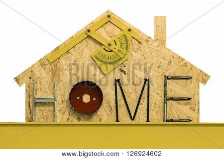 Silhouette of a suburbian house with mounting materials at OSB sheet. Isolated objects on a white background.