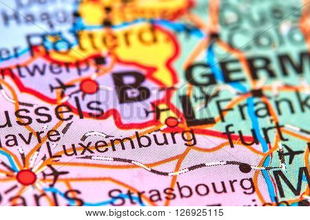 Luxemburg Country and City in Europe on the World Map