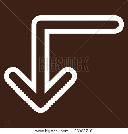 Turn Down vector icon. Style is contour icon symbol, white color, brown background.