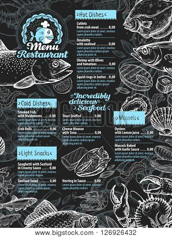seafood. restaurant menu or cafe design template. hand drawn seafood