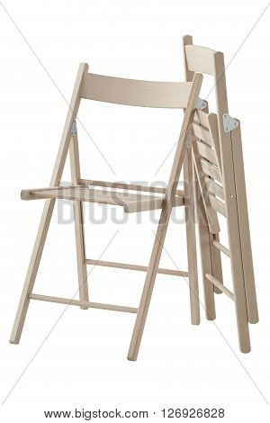 Side view of two wooden folding chairs isolated on white background. In the working position and in the folded position. Include clipping path.