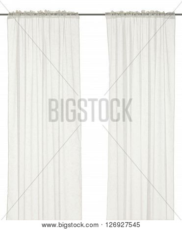 Classic translucent white curtain with floral pattern. Isolated on white background. Inlude path.