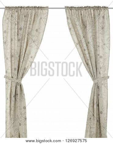 Classic translucent flax curtain with floral pattern. Isolated on white background. Include path.