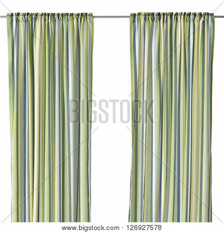 Classic translucent green curtain with line pattern. Isolated on white background. Include path.